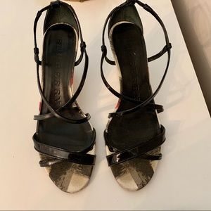 Burberry authentic strap heels wedges
